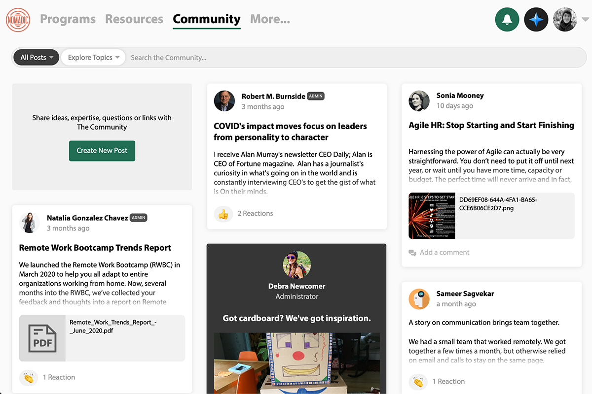 Product screenshot our global community where members post ideas, expertise, questions and more.