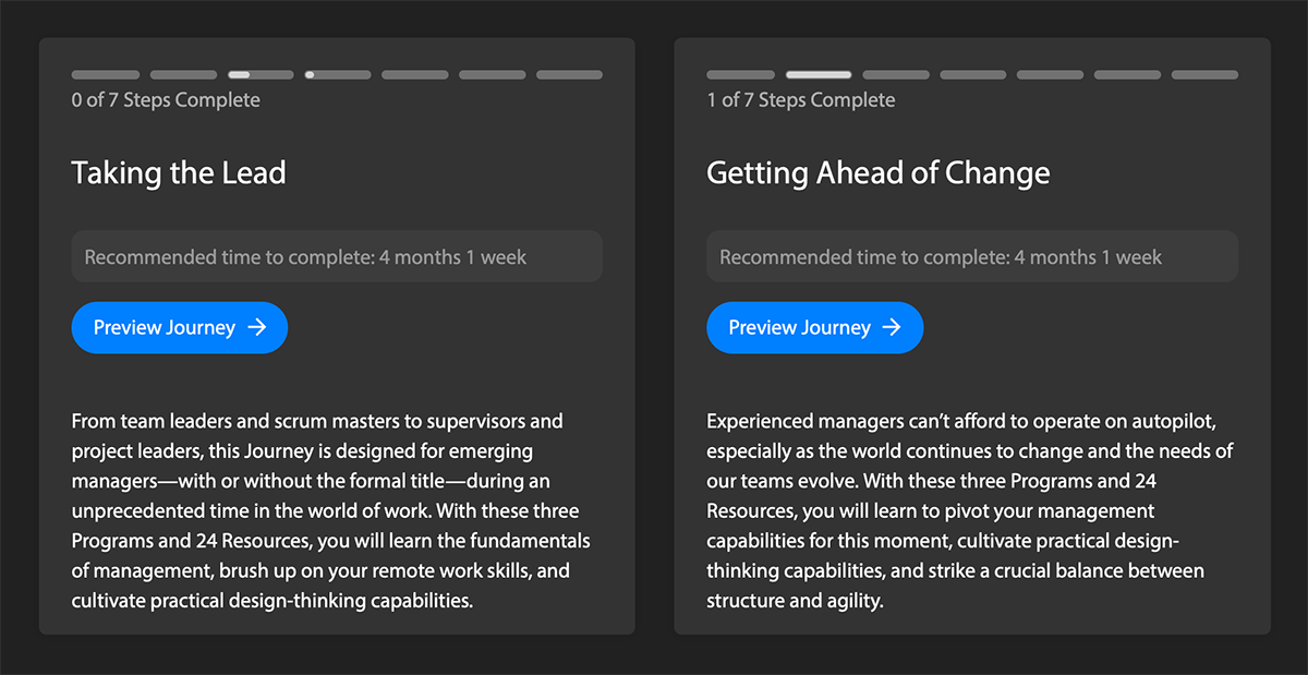 Product screenshot of two current learner journeys: 'Taking the Lead' and 'Getting Ahead of Change'