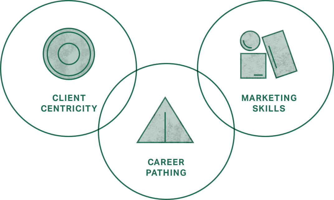 illustration of three key focus areas: career pathing, client-centricity and marketing skills