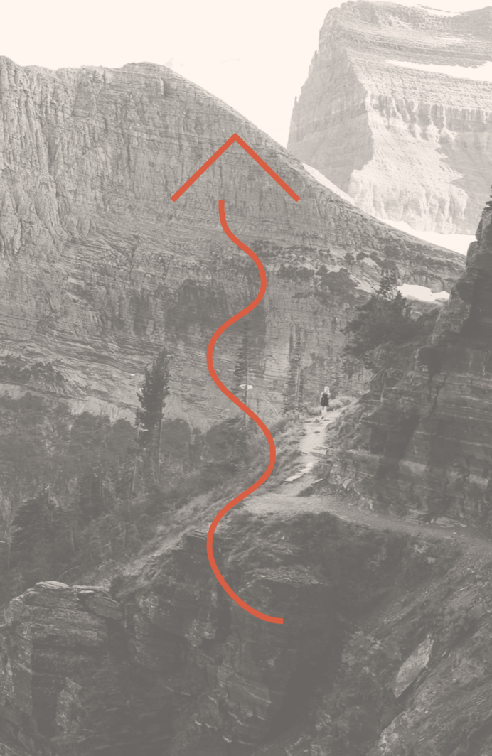 Illustration of an arrow overlaid on a photo of a mountain